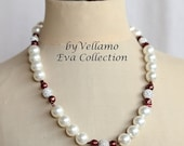 SALE Glamorous pearl necklace with large white glass pearls, Swarovski crystal balls and wine red keshi reborn pearls, summer evening neckla
