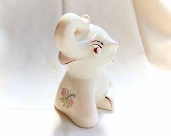 Keller & Guerin Luneville Strasbourg Pattern Vintage French Floral Ceramic Elephant Bank (C064)