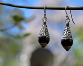 Tibetan silver bead dangle drop earrings with black and red accent and sterling silver hooks sensitive ear earrings dainty pretty earrings