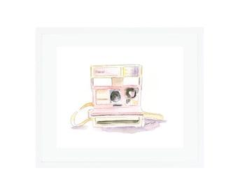 Pink Polaroid Camera Giclee Print