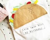 "Swanky Shank Gender Neutral ""let's taco 'bout my birthday"" taco shirt or bodysuit, taco birthday shirt, taco party"