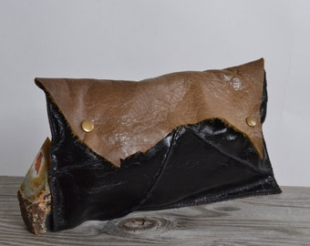 Cowhide Leather Clutch - Leather Clutch - Women's Leather Clutch - OOAK Leather Clutch Pouch - Women's Accessories