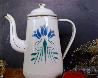 ON SALE Danish Vintage White Enamel Teapot