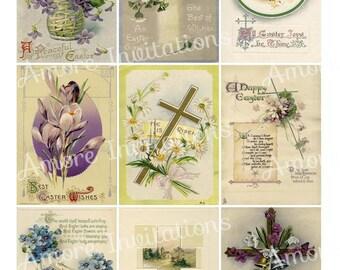 Printable Digital Clip Art Vintage Easter Greetings Cards Collage Sheet 1 - ATC - JPEG - PDF - Instant Download - Downloadable - Cu