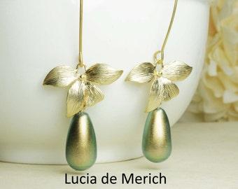 Matte Gold Orchid Flower Jade Pearl Teardrop Long Dangle Earrings, Romantic Wedding , Pearl Drop Earrings, Bridesmaid Earrings