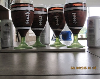 Beer Glasses four with Football hand painted