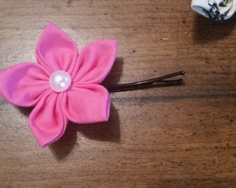 Hot pink flowers hairpin