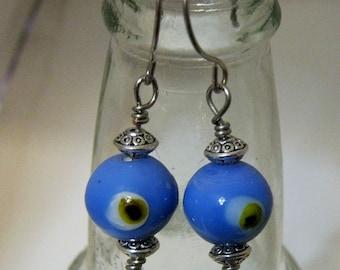 Glass Eyes Wire  Earrings