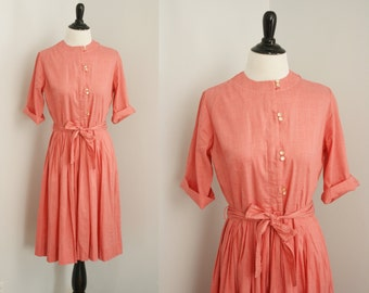 1960s dress |vintage 60s coral shirtwaist dress
