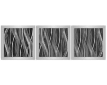 Grey Wall Art 'Pewter Essence' - 38x12 in. - Pewter Metal Artwork. Minimalist, Ultra-Modern Contemporary Art Design