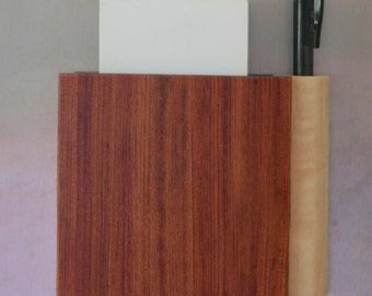 Magnetic Wooden Grocery List Holder Handmade out of Bubinga and Figured Maple - Free Shpping to USA