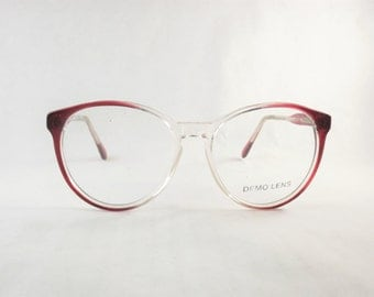 Big Eyeglasses, Round Cat Eye Glasses, Vintage Two Tone Burgundy Wine Frames, Cranberry Red Preppy Glasses, Makes great Sunglasses