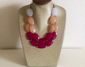 The Cupids Bow Necklace Marshmallow White, Champagne and Bright Pink ONE OF A KIND