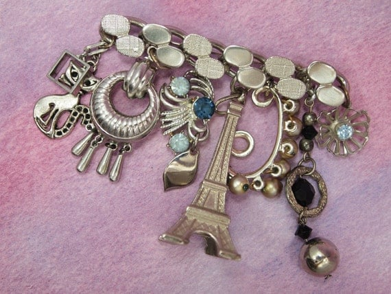 """Assemblage Charm Brooch Pin - Vintage Bar Pin Brooch - Vintage Jewelry Elements ~ Silver Plated Metal - 3"""" width x 2.5"""" length"""
