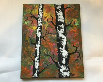 Original Handmade Art- 8x10 Acrylic Painting on Canvas of Minnesota Birch Trees in the Summer with a Rustic, Retro, Hippie Look
