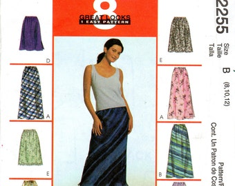 Easy Pull-on, Bias Women's Skirt in Two Lengths Pattern - Size 8, 10, 12 - McCall's 2255 uncut