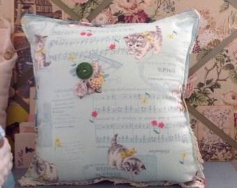 Kittens and music nursery decor pillow, vintage kitten fabric pillow, poka dot teal lace pillow, kitten fabric