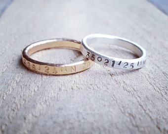 Hammered Latitude Longitude Ring in Sterling Silver or 14K gold, Rustic  Location Ring, Gold Ring with Coordinates