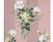 REMNANT of Vintage Wallpaper, Single 36 Inch Piece - Segmant of Floral Wallpaper with Yellow and White Roses on Mauve Stripes