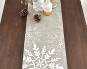 Tossed Snowflakes Holiday Linen Table Runner - Natural / White