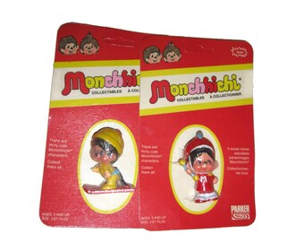 Monchichi dolls Monchhichi figures monkeys Skier Drum Major Parker Bros 80s toys 1980s