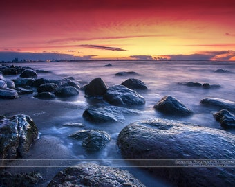 Beach wall art, rocks, sea, sunset, icy rocks and sea in winter, sunset print, Baltic sea, print you can frame for your wall