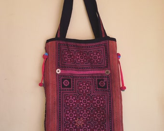 Oversized Tote with vintage Hmong textiles.