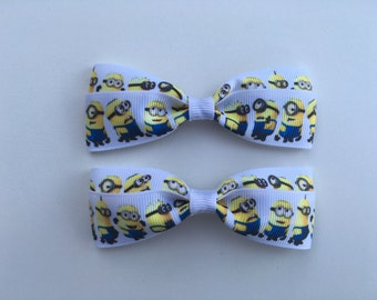 Minions Hair Bows with Alligator Clips