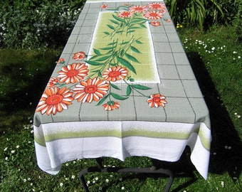 Vintage Rectangular Tablecloth, Retro Floral Cotton Tablecloth, Mid Century Orange Red Flowers on Green Tablecloth, Vintage Table Linens