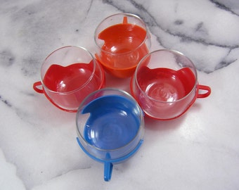 Vintage Glass Cups with Holders, Red Blue Orange Tea or Punch Glasses, Glasses Tea Cups with Plastic Cup Holders