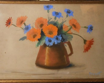 Vintage pastel still life orange and blue flowers in pitcher signed