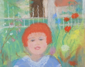 Vintage pastel of child in garden with flowers