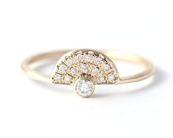 Dainty Engagement Ring, Diamond Crown Ring, Pave Diamond Ring, Half Diamond Halo Ring, Thin Dainty Rings, Thin Modern Ring