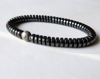 Hematite stacking bracelet with oxidized sterling silver focal bead