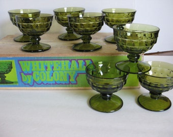 Vintage Set of Eight, Whitehall Colony, Sherbet Glasses, Green Dessert Cups, Retro Dishes, Ice Cream, Pudding Cups