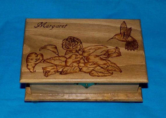 Decorative Rustic Wood Jewelry Box Wood Burned Box Wedding Tree Love Birds Custom Jewellery Box Personalized Hummingbird Bridal Shower Gift