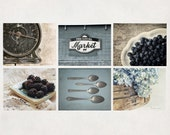 Rustic Photography, Wall Art Collection, Country Kitchen Decor, Print Set of 6, Blue & Aqua, SAVE 20%