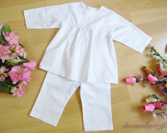 Christening suit fine lace ,100% cotton
