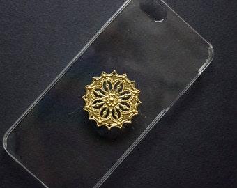 Clear Iphone 5S case, Gold filigree phone case, handmade phone case