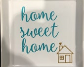 HOME sweet home turquoise and gold white decorative tray