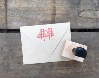 rubber stamp. san francisco. golden gate bridge. heart.