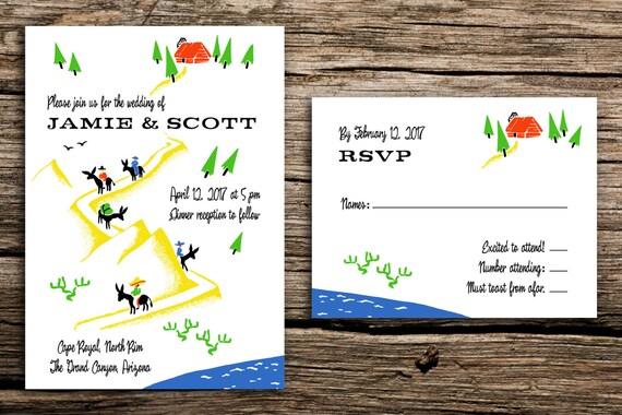 Wedding Invitations Az: Retro Canyon Wedding Invitation Set // Arizona Wedding Desert