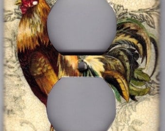 French Country Rooster / Chicken Outlet Switchplate Cover - Single Regular size (7134)