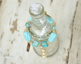 Tabletop Oil Candle, Citronella Candle, Mini Bottle Torch, Refillable Tabletop Oil Lantern, Round with Bottle Necklace