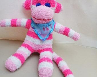 Sock monkey. Hand made toy, sock monkey.