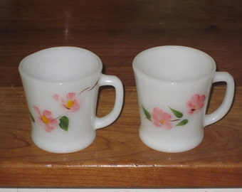 2 Vintage Fire King Peach Blossom Dogwood D-Handle Mugs by Anchor Hocking