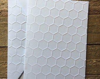 Honeycomb White Embossed Note Cards, Embossed Honeycomb Note Cards, Honeycomb Stationery, Blank Note Card,