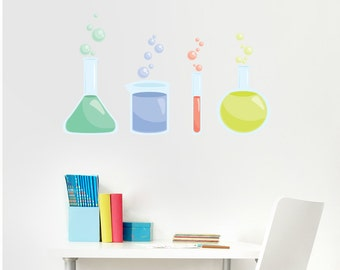 Beakers Printed Wall Decal- Science DecalSchool Wall Art, Science Decal, Science Beakers, Chemistry Art, Science Lab, Classroom Wall Decor
