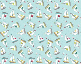 Sunday Ride sailboats by Cherry Guidry for Benartex patchwork quilting fabric P10083-54B