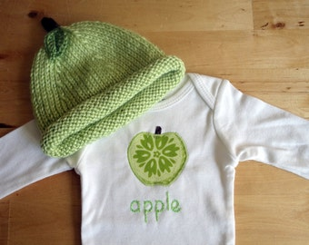 GREEN APPLE Hat and Onesie / Bodysuit Gift Set - Baby Girl or Boy, Long Sleeve, Two Piece  - Available in NB, 3, 6, 9, 12, 18 and 24 months